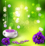 Vector background with violets and candles Stock Image