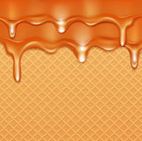 Vector background with waffles and caramel current (glaze) Royalty Free Stock Photo