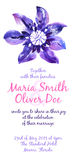 Vector background with watercolor clematis for wedding invitation Stock Images