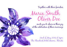 Vector background with watercolor clematis for wedding invitation Stock Photos