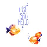 Vector background with watercolor discus fish Royalty Free Stock Photos