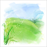 Vector background of watercolor landscape Royalty Free Stock Photo