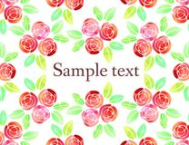 Vector background with watercolor roses. Royalty Free Stock Image