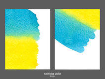 Vector background with watercolor yellow and blue. Stock Photo