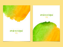 Vector background with watercolor  yellow and green. Royalty Free Stock Photos