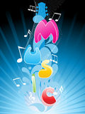 Vector background with wave, musical note Royalty Free Stock Photo