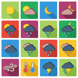 Vector background with weather icons  on white Royalty Free Stock Images
