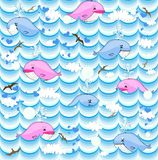 Vector background with whales Royalty Free Stock Photo