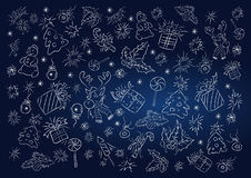 Vector background with white outlines of Christmas objects. Stock Photography