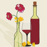 Vector background with wine bottles and flowers. Stock Photos