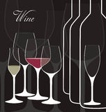 Vector background with wine glasses. Stock Images