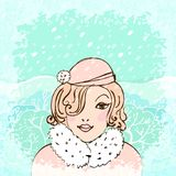 Vector background with winter girl Royalty Free Stock Photos