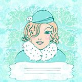 Vector background with winter girl  and vignette Royalty Free Stock Image