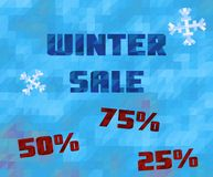Vector background with winter sale text. Low poly blue abstract texture Stock Photos