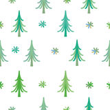 Vector background winter snowflakes and christmas tree Royalty Free Stock Photography