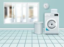 Free Vector Background With 3d Realistic Modern White Steel Washing Machine Closeup. Background. Design Template Of Wacher. Front View Royalty Free Stock Image - 164093716