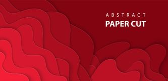 Vector Background With Deep Red Color Paper Cut Shapes. Royalty Free Stock Images
