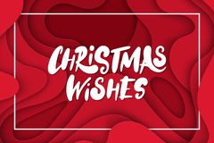 Vector Background With Deep Red Color Paper Cut Shapes. 3D Abstract Christmas Wishes Lettering, Design Layout For Greeting Cards, Royalty Free Stock Images