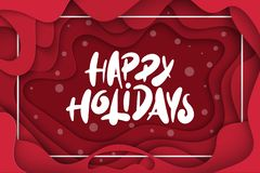 Vector Background With Deep Red Color Paper Cut Shapes. 3D Abstract Happy Holidays Lettering, Design Layout For Greeting Cards Royalty Free Stock Images