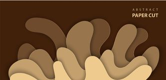 Vector Background With Splash Water Paper Cut Shapes In Brown Color. 3D Abstract Paper Art Style, Design Layout For Advertising, Stock Photography
