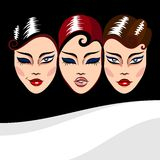 Vector background with woman faces Stock Photography