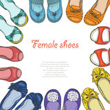 Vector background with women shoes in circle Stock Photo