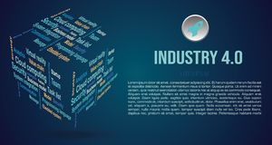 Vector background word cloud in 3D cube with terms about industry 4.0 in blue color.  royalty free stock images