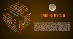 Vector background word cloud in 3D cube with terms about industry 4.0 in brown color.  stock photos