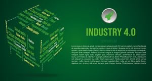 Vector background word cloud in 3D cube with terms about industry 4.0 in green color.  royalty free stock photo