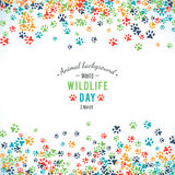 Vector background of world wildlife day. Vector illustration of world wildlife day. Animal background. 3 March, the day of the adoption of the Convention on Stock Image