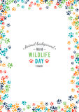 Vector background of world wildlife day. Vector illustration of world wildlife day. Animal background. 3 March, the day of the adoption of the Convention on Stock Photography