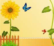 Vector background with yellow sunflowers, fence, royalty free illustration