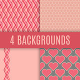 Vector backgrounds. Checked, hexagonal, heart and lines textures.  Stock Photos