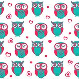 Vector backgrounds with couple of owls on the branch Royalty Free Stock Photo