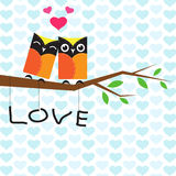 Vector backgrounds with couple of owls on the branch. Stock Images