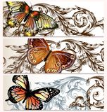 Vector backgrounds set with butterflies Stock Image