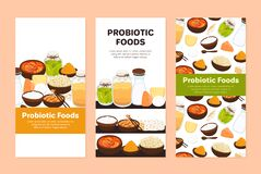 Free Vector Backgrounds With Probiotic Foods. Best Sources Of Probiotics. Beneficial Bacteria Improve Health Royalty Free Stock Images - 181778109
