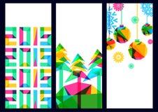 Vector backgroundwith Bäume und Schneeflocken, neues Jahr 2015 Stockfotos