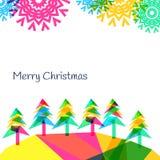 Vector backgroundwith Bäume und Schneeflocken, neues Jahr 2015 Lizenzfreies Stockbild