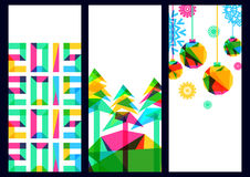 Vector backgroundwith trees and snowflakes, New Year 2015 Stock Photos