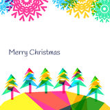 Vector backgroundwith trees and snowflakes, New Year 2015.  Vector Illustration
