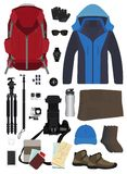 Vector backpack travel objects Royalty Free Stock Image