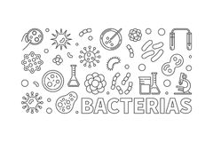 Vector bacterias banner or illustration made with bacteria icons royalty free illustration