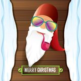 Vector bad rock n roll dj santa claus with smoking pipe, funky beard and greeting calligraphic text on old vintage Stock Photography