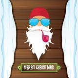 Vector bad rock n roll dj santa claus with smoking pipe, funky beard and greeting calligraphic text on old vintage Stock Image