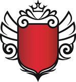 Vector badge with crown and wings. Vector illustration of heraldic frame or badge with crown and wings Stock Photography