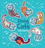 Vector badge with diving cats in ocean. Stickers kit. Sticker set of diving cats in ocean. Funny vector childish patches. Cats explore the underwater world Stock Image