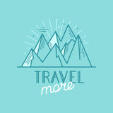 Vector badge in trendy linear style with mountain illustration a Stock Photos