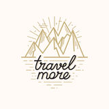 Vector badge in trendy linear style with mountain illustration a Stock Images