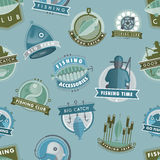 Vector badges catching fish fishing club or shop fisherman logo vector illustration seamless pattern background. Set of vector badges stickers on catching fish Stock Photos